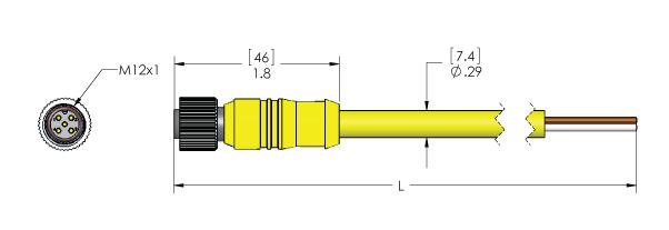 Mencom M12 Female Straight, 4-Pole, 10M Yellow PVC, 18awg, 4A